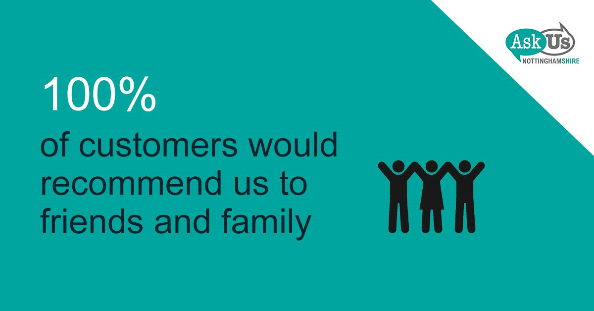 100% of our customers would recommend us to family and friends